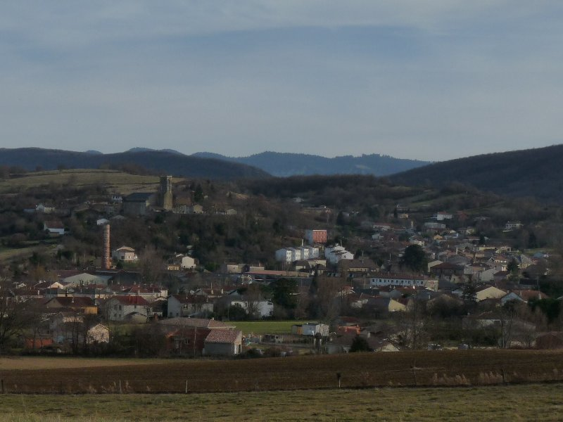 Laroque d'Olmes, viewed from the nearby village of Esclagne