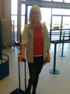 Emily all checked in and ready to go at Leeds-Bradford airport