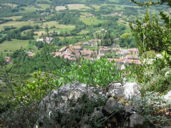 The village of Roquefixade far below. We were there half an hour ago.