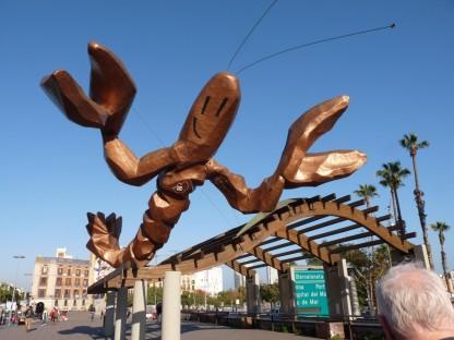 Whimsical lobster at Port Vell.