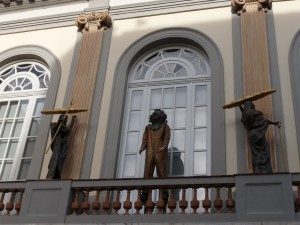 These three figures look down on you as you wait to visit the Dali Museum.  And the loaves of bread?