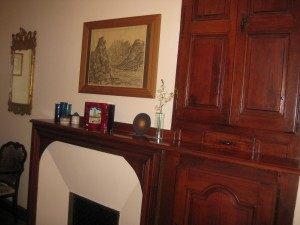 One of the guest bedrooms with original woodwork intact