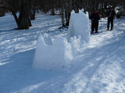 A bit of fun at journey's end. A snow castle. Montségur. We didn't make it though.