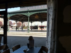 A welcome moment of calm, gazing out of the window over a cup of Earl Grey at The Mad Hatter, Mirepoix.