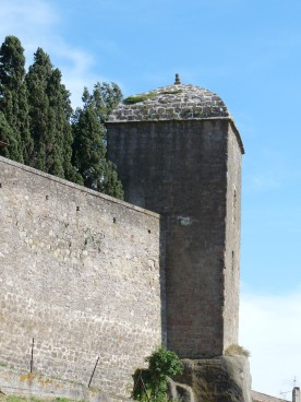 The dragon-slayer's tower, viewed from outside the château walls.