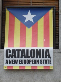 These flags are everywhere, in English and Catalan.