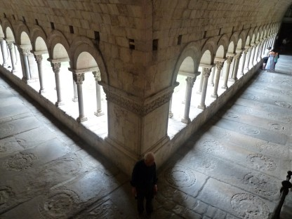 Looking down on the Cathedral cloister.