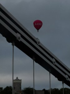 Hot air balloon over Clifton Suspension Bridge
