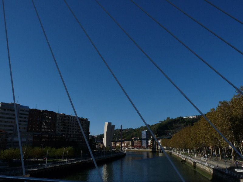 A view of the Guggenheim Museum from the Puente Zubi Zuri