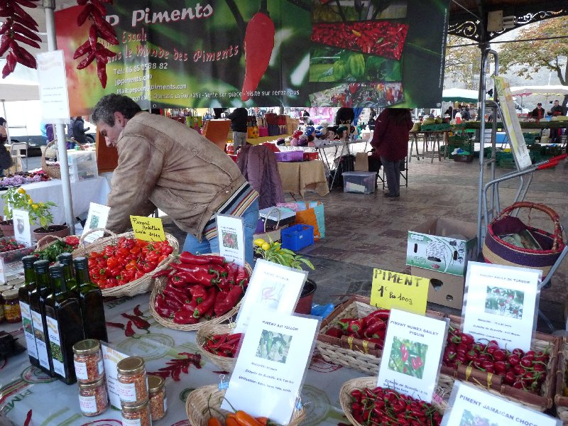 Jean Philippe Turpin and his stall at Mirepoix market last week.