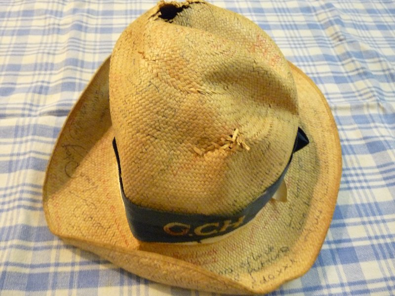 School panama hat: signed by all my friends before becoming a museum piece.  Or I could have done as some others did, and thrown it into the Thames.