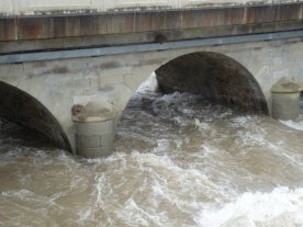 The River Touyre crashing under the bridge near our house.
