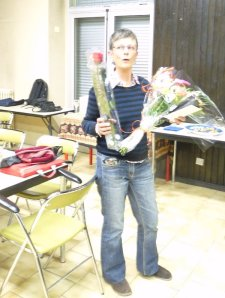 A bouquet, a rose.  No wonder I look so surprised.