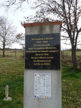 This monument at Calzan commemorates the activities of the Maquis in the area, particularly their involvement in the liberation of Foix in 1944.