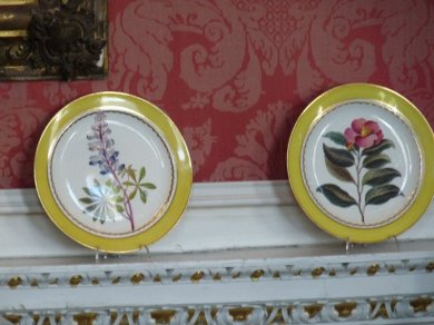 Part of a Crown Derby dinner service. Each plate is different.