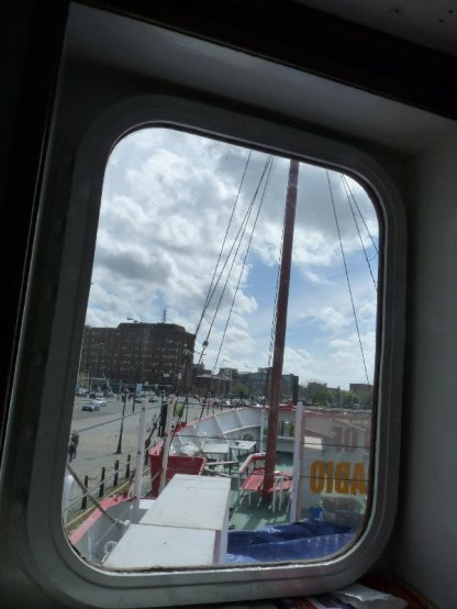 View through a porthole on board.