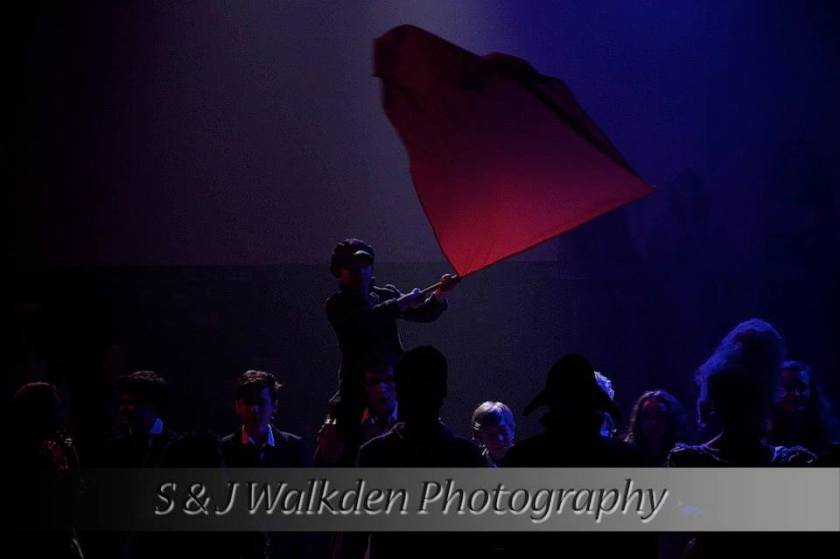 The grand finale of 'Les Miserables'. That's Alex, waving the flag. (S &J Walkden photography)