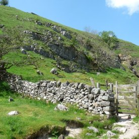 Limestone scree and drystone walls.