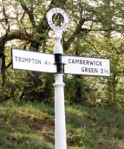 The way  to Camberwick Green?  Sadly not. This road sign was made by Countryways and stands by the Bluebell Railway in Sussex