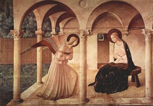 One of Fra Angelico's interpretations of the Annunciation, at the Museo di San Marco.  Wikimedia Commons.