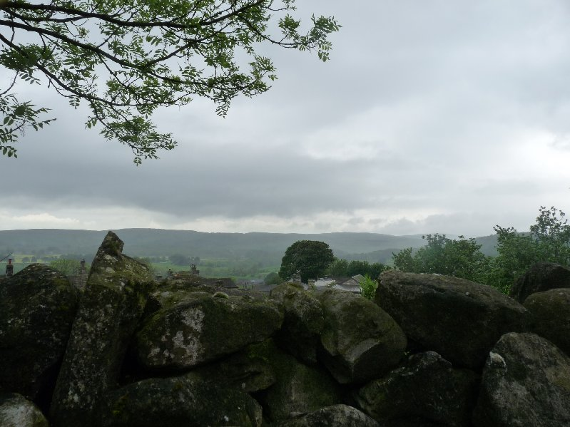 The rainy view from the car park in Grassington.
