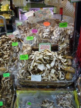 Dried funghi, whole stallsful of them.