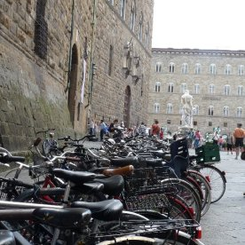 The ubiquitous push-bikes: all parked up on Piazza della Signoria