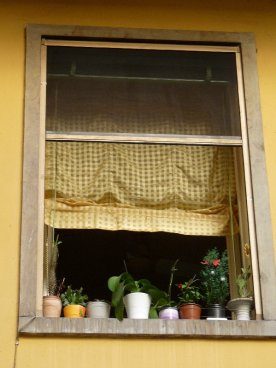 A little window over a little courtyard.