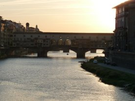 The Ponte Vecchio at dusk.