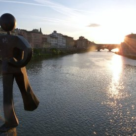 Sunset over the Ponte Vecchio. I don't know who this fellow is.