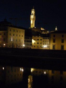 The Palazzo Vecchio at night.