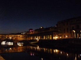 The Uffizi and Ponte Vecchio by night.