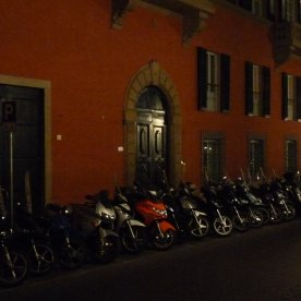 The ubiquitous motor bikes: all parked up for the night.