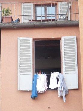 Drying the washing.