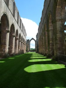 The nave of the now ruined Fountains Abbey