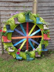 A decorated wheel.