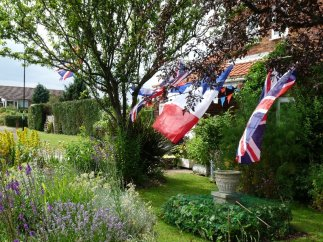 A garden decorated for the occasion