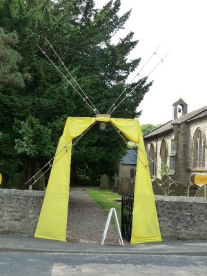The church gets in on the act. 'Le Moulin Jaune'.