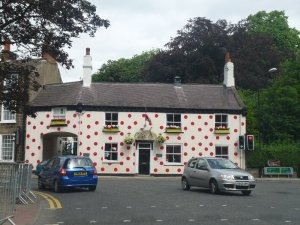 Knaresborough's spotted house on a busy corner.