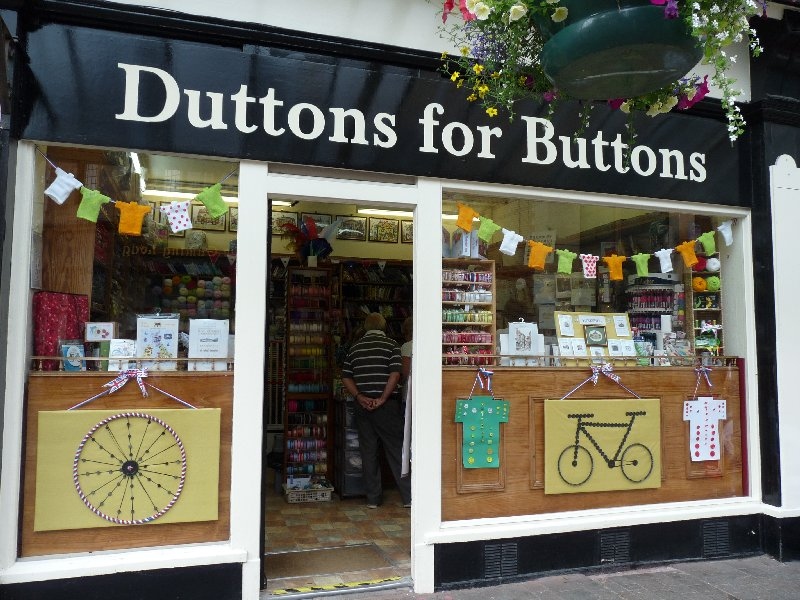 Back in the shopping quarter, Duttons for Buttons celebrates le Tour ... entirely in buttons.