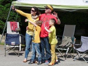 Ellie, Phil, Ben and Alex welcome the publicity caravan.