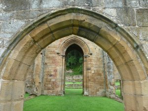 The simple, unadorned architecture of the priory.