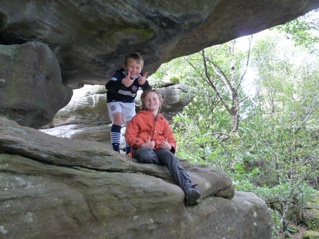 Alex and Ben take a pause at Brimham Rocks