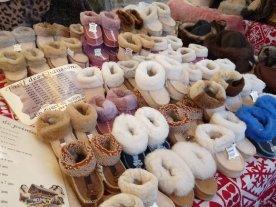 Sheepskin slippers for winter.