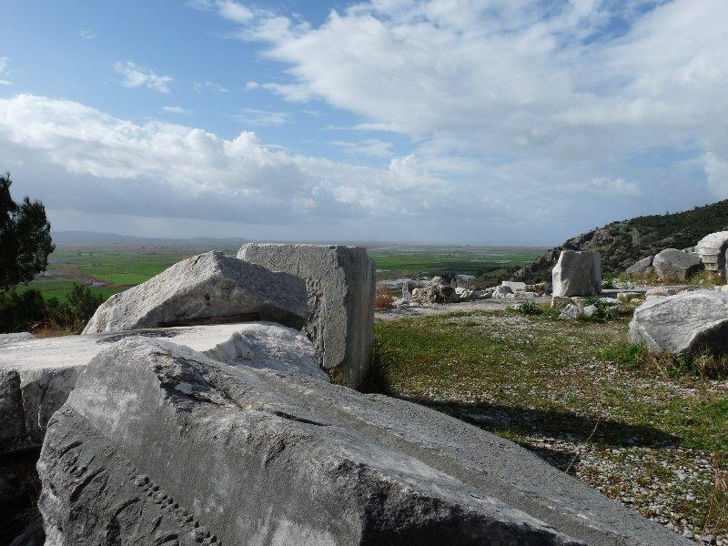 Ancient columns awit restoration in Priene.