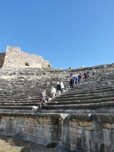 The theatre: the space between audience and arena indicates that animal fights were held here.