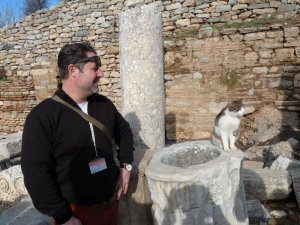 An Ephesus resident attempts to steal the show from our guide.