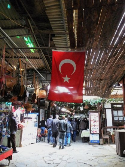 Bazaar in Şirince. Easy to see it's part of Turkey now.