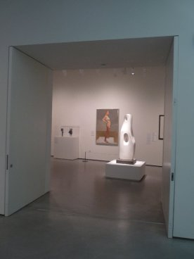 I love this juxtaposition of the Hepworth sculpture with the Euan Uglow portrait behind.