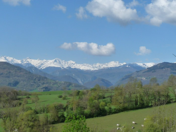 A view of the Pyrenees from between Laroque and Foix